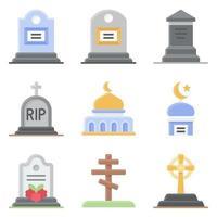 conjunto de iconos vectoriales relacionados con el funeral estilo plano vector