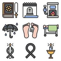 Funeral related vector icon set 7 filled style