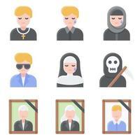 conjunto de iconos vectoriales relacionados con el funeral 5 estilo plano vector
