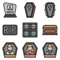 Funeral related vector icon set 3 filled style