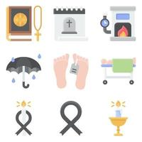 Funeral related vector icon set 7 flat style