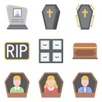 Funeral related vector icon set 3 flat style
