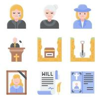 Funeral related vector icon set 6 flat style
