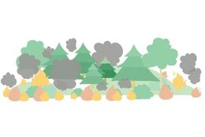 Forest fire flat vector illustration Dangerous wildfire in taiga