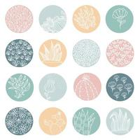Highlight cover set abstract floral botanical icons for social media and Set of Story vector