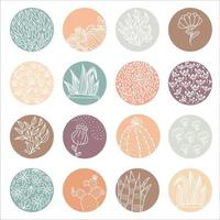 Highlight cover set abstract floral botanical icons for social media and set for vector