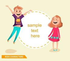 kids boy and girl characters design with sample text vector