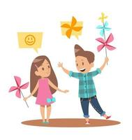 childs playing pinwheel character design vector