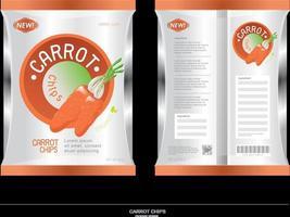Vegetarian carrot chips package design vector