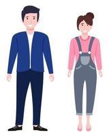 Joven empresario feliz y personaje de mujer de negocios vistiendo traje de negocios de pie y posando aislado vector