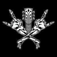 cráneo cruzado manos rock vector