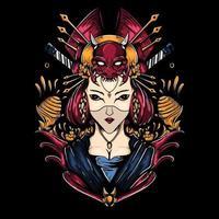 Japanese Geisha illustration vector