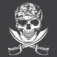Skull Pirates monochrome vector