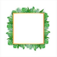 Tropical leaves around a white rectangle box copy space Bright abstract background for banner flyer or cover with copy space for text or emblem vector