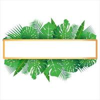 Tropical leaves around a white frame copy space Bright abstract background for banner flyer or cover with copy space for text or emblem vector