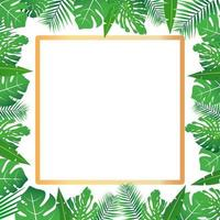 Tropical leaves around a white rectangle frame copy space Bright abstract background for banner flyer or cover with copy space for text or emblem vector