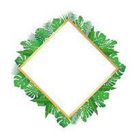 Tropical leaves around a diamond shape frame copy space Bright abstract background for banner flyer or cover with copy space for text or emblem vector