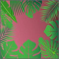 Tropical leaves around a empty space Elegant backdrop decorated with foliage of exotic jungle plants Natural frame or border vector