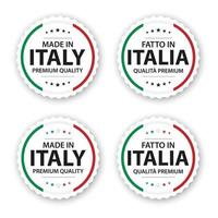 Set of four Italian labels Made in Italy In Italian Fatto in Italia Premium quality stickers and symbols with stars Simple vector illustration isolated on white background