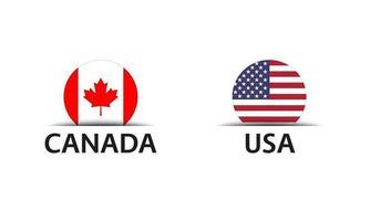 Canadá y EE. UU. conjunto de dos pegatinas de Canadá y Estados Unidos de América iconos simples con banderas aisladas sobre un fondo blanco. vector