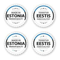 Set of four Estonian labels Made in Estonia In Estonian Toodetud Eestis Premium quality stickers and symbols with stars Simple vector illustration isolated on white background
