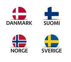 Dinamarca, Finlandia, Noruega y Suecia conjunto de cuatro pegatinas danés finlandés noruego y sueco iconos sencillos con banderas aislado sobre un fondo blanco. vector