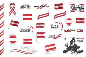 gran conjunto de vectores de iconos de símbolos de cintas austriacas y banderas aisladas sobre un fondo blanco hecho en austria colores nacionales austriacos de calidad premium establecidos para sus infografías y plantillas