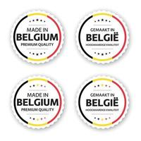 Set of four Belgian labels Made in Belgium In Dutch Gemaakt in Belgie Premium quality stickers and symbols with stars Simple vector illustration isolated on white background