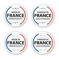 Set of four French labels Made in France In French Fabrique En France Premium quality stickers and symbols with stars Simple vector illustration isolated on white background