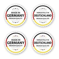 Set of four German labels Made in Germany In German Hergestellt in Deutschland Premium quality stickers and symbols with stars Simple vector illustration isolated on white background