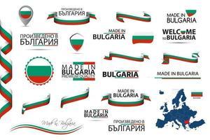 gran conjunto de vectores de cintas búlgaras símbolos iconos y banderas aislados sobre un fondo blanco hecho en bulgaria tricolor nacional búlgaro de primera calidad para sus infografías y plantillas