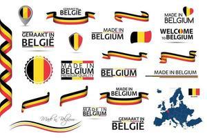Gran conjunto de vectores de iconos de símbolos de cintas belgas y banderas aisladas sobre un fondo blanco hecho en Bélgica tricolor nacional belga de primera calidad para sus infografías y plantillas