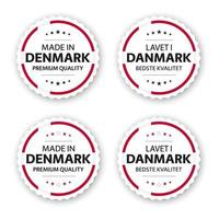 Set of four Danish labels Made in Denmark In Danish Lavet i Danmark Premium quality stickers and symbols with stars Simple vector illustration isolated on white background