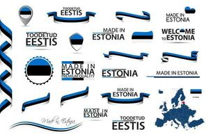 Big vector set of Estonian ribbons symbols icons and flags isolated on a white background Made in Estonia and Toodetud Eestis in English and Estonian premium quality Set for your infographics and templates