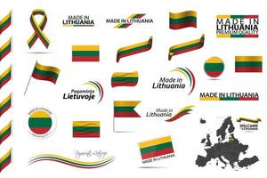 gran conjunto de vectores de cintas de lituania símbolos iconos y banderas aislados sobre un fondo blanco hecho en lituania tricolor nacional irlandés de primera calidad para sus infografías y plantillas
