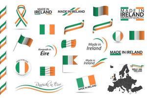 gran conjunto de vectores de iconos de símbolos de cintas irlandesas y banderas aisladas sobre un fondo blanco hecho en irlanda tricolor nacional irlandés de primera calidad para sus infografías y plantillas