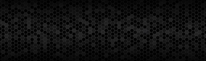 Dark widescreen header with hexagons with different transparencies Modern black geometric design banner Simple vector illustration background
