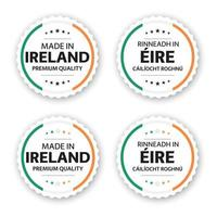Set of four Irish labels Made in Ireland In Irish Rinneadh in Eire Premium quality stickers and symbols with stars Simple vector illustration isolated on white background