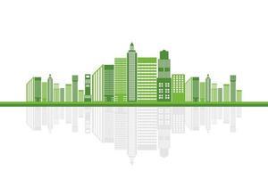 La ciudad de la ecología verde ayuda al mundo con ideas conceptuales ecológicas. vector