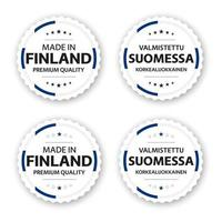 Set of four Finnish labels Made in Finland In Finnish Valmistettu Suomessa Premium quality stickers and symbols with stars Simple vector illustration isolated on white background