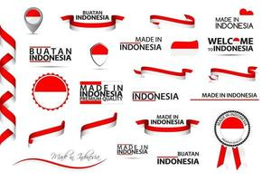 Big vector set of Indonesian ribbons symbols icons and flags isolated on a white background Made in Indonesia premium quality Indonesian national colors Set for your infographics and templates