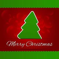 Merry Christmas lettering red tree background vector