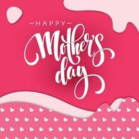 Happy Mothers Day Vector Illustration with pink pattern on background