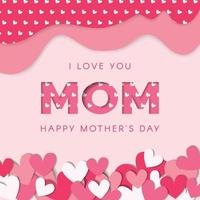 Happy Mothers day vector with hearts