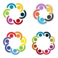 People logo Group teamwork symbol persons holding hands vector