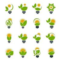 Ecology bulb logos of green with sun and leaves nature element icon on white background vector