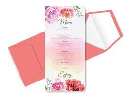 gorgeous wedding card set floral design vector
