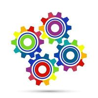 Abstract Color gear beautiful four pieces gears set icon vector
