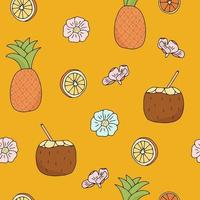 Festive Background with Bright Oranges Pineapples Coconut Milk and Flowers The Vector Seamless Pattern is Isolated on a Yellow Background