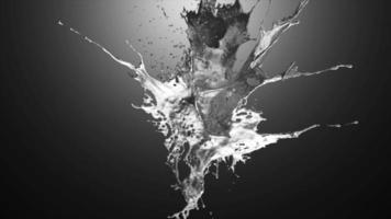explosion de métal liquide sur un dégradé de gris video
